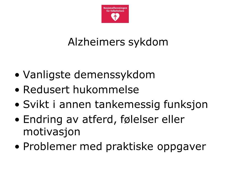 Alzheimers sykdom Vanligste demenssykdom Redusert hukommelse Svikt i annen tankemessig funksjon Endring av atferd, følelser eller motivasjon Problemer med praktiske oppgaver