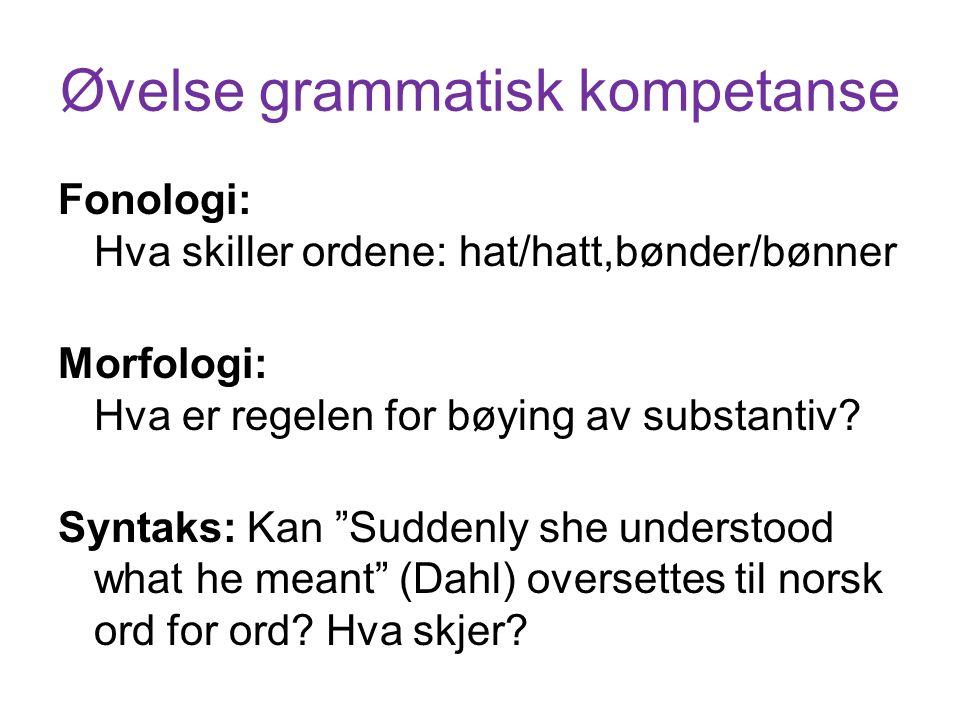 Øvelse grammatisk kompetanse Fonologi: Hva skiller ordene: hat/hatt,bønder/bønner Morfologi: Hva er regelen for bøying av substantiv.