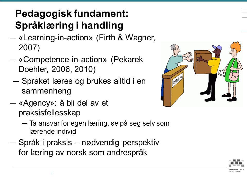 Pedagogisk fundament: Språklæring i handling — «Learning-in-action» (Firth & Wagner, 2007) — «Competence-in-action» (Pekarek Doehler, 2006, 2010) — Sp