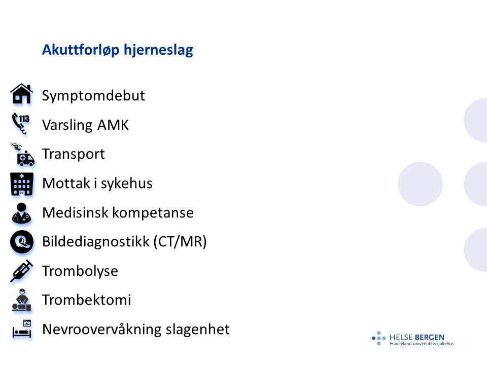 Akuttforløp hjerneslag Symptomdebut Varsling AMK Transport Mottak i sykehus Medisinsk kompetanse Bildediagnostikk (CT/MR) Trombolyse Trombektomi Nevro