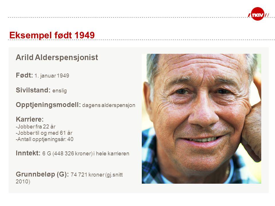 Eksempel født 1949 Arild Alderspensjonist Født: 1.
