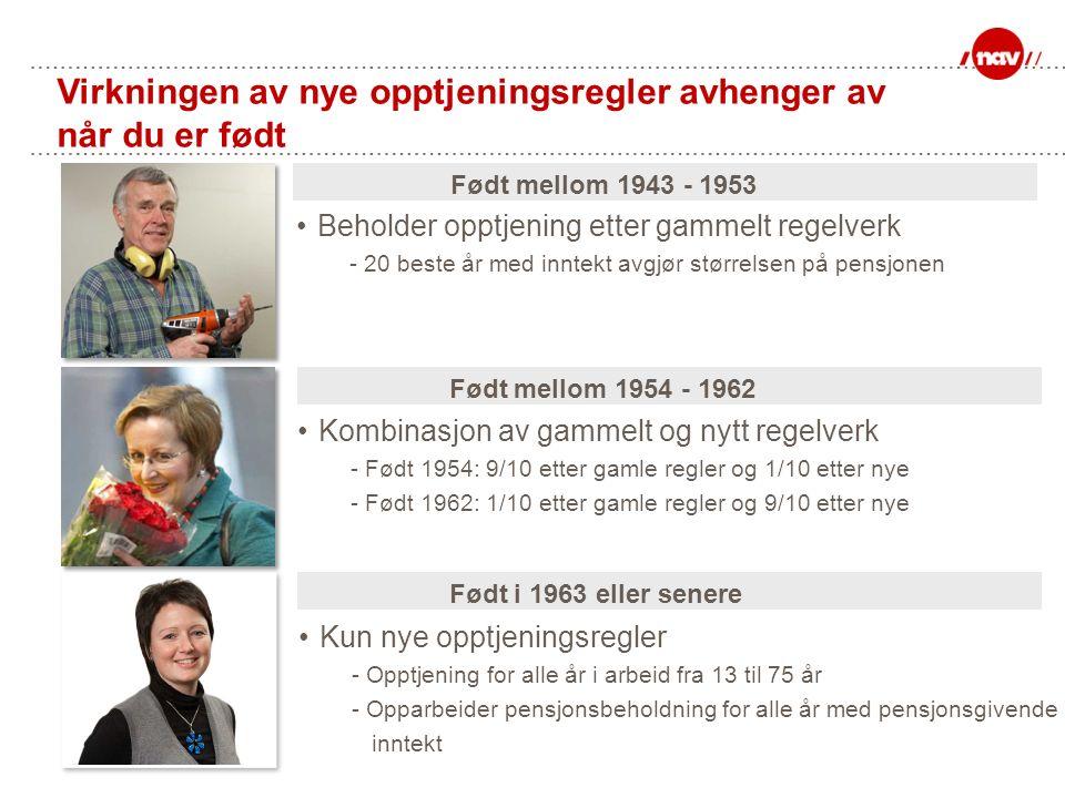Virkningen av nye opptjeningsregler avhenger av når du er født Beholder opptjening etter gammelt regelverk - 20 beste år med inntekt avgjør størrelsen på pensjonen Født mellom 1943 - 1953 Født i 1963 eller senere Kun nye opptjeningsregler - Opptjening for alle år i arbeid fra 13 til 75 år - Opparbeider pensjonsbeholdning for alle år med pensjonsgivende inntekt Kombinasjon av gammelt og nytt regelverk - Født 1954: 9/10 etter gamle regler og 1/10 etter nye - Født 1962: 1/10 etter gamle regler og 9/10 etter nye Født mellom 1954 - 1962