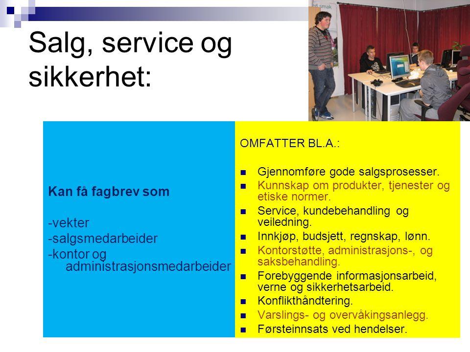 Salg, service og sikkerhet Vg2 Utdanningsveier videre Læreplass Studiekompetanse mm.