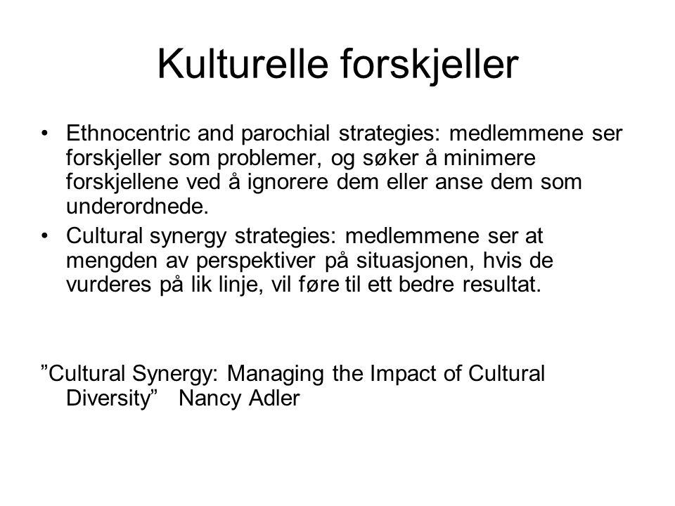 Kulturelle forskjeller Ethnocentric and parochial strategies: medlemmene ser forskjeller som problemer, og søker å minimere forskjellene ved å ignorer