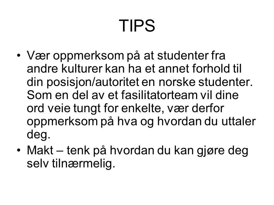 TIPS Vær oppmerksom på at studenter fra andre kulturer kan ha et annet forhold til din posisjon/autoritet en norske studenter. Som en del av et fasili