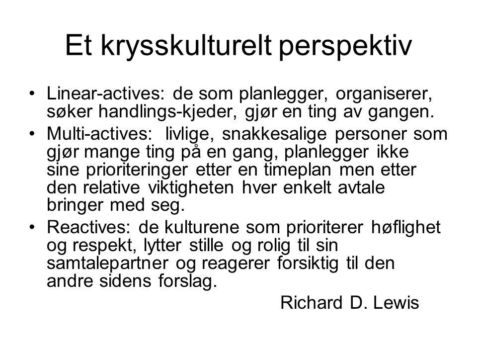Et krysskulturelt perspektiv Linear-actives: de som planlegger, organiserer, søker handlings-kjeder, gjør en ting av gangen. Multi-actives: livlige, s