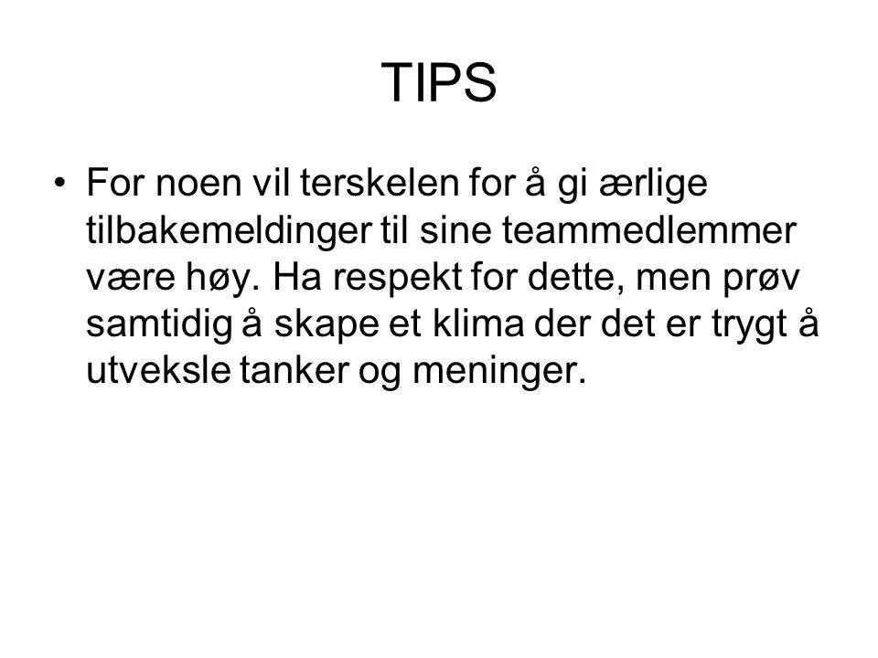 TIPS For noen vil terskelen for å gi ærlige tilbakemeldinger til sine teammedlemmer være høy.