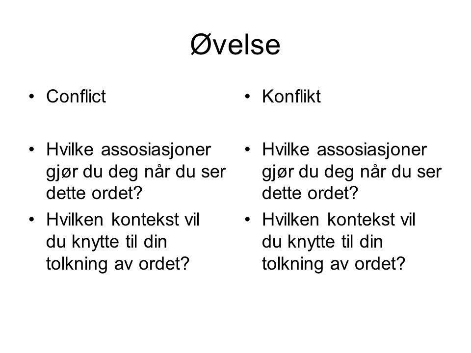 Øvelse Conflict Hvilke assosiasjoner gjør du deg når du ser dette ordet? Hvilken kontekst vil du knytte til din tolkning av ordet? Konflikt Hvilke ass