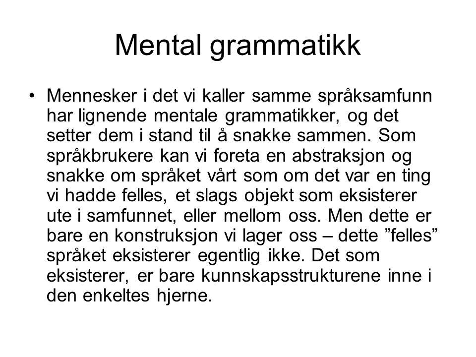 Mental grammatikk Mennesker i det vi kaller samme språksamfunn har lignende mentale grammatikker, og det setter dem i stand til å snakke sammen. Som s