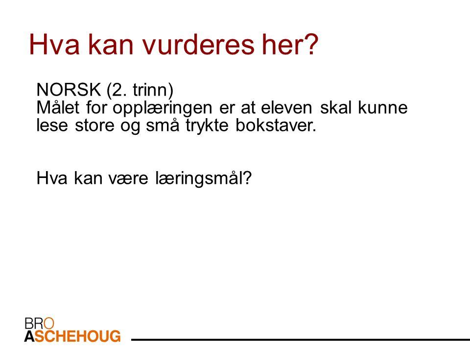 NORSK (2. trinn) Målet for opplæringen er at eleven skal kunne lese store og små trykte bokstaver.