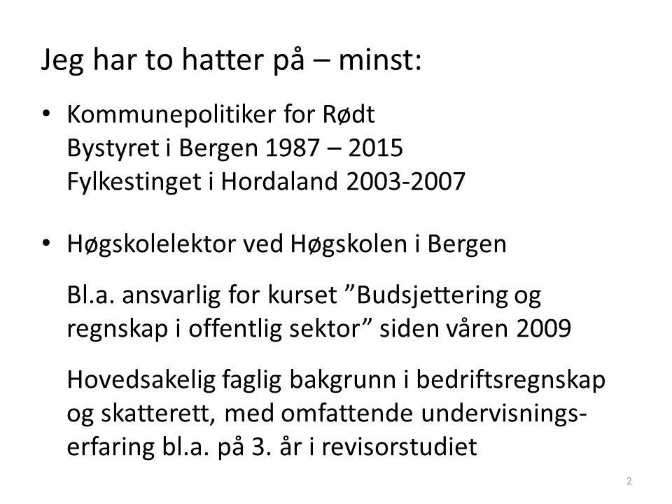 Jeg har to hatter på – minst: Kommunepolitiker for Rødt Bystyret i Bergen 1987 – 2015 Fylkestinget i Hordaland 2003-2007 Høgskolelektor ved Høgskolen i Bergen Bl.a.