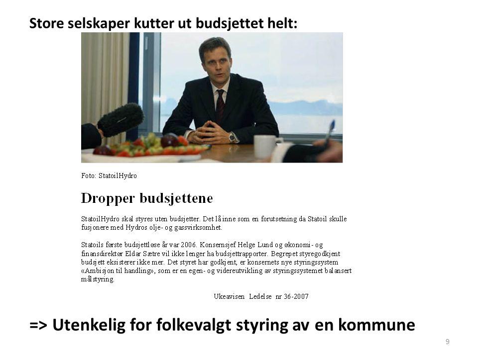 Store selskaper kutter ut budsjettet helt: => Utenkelig for folkevalgt styring av en kommune 9