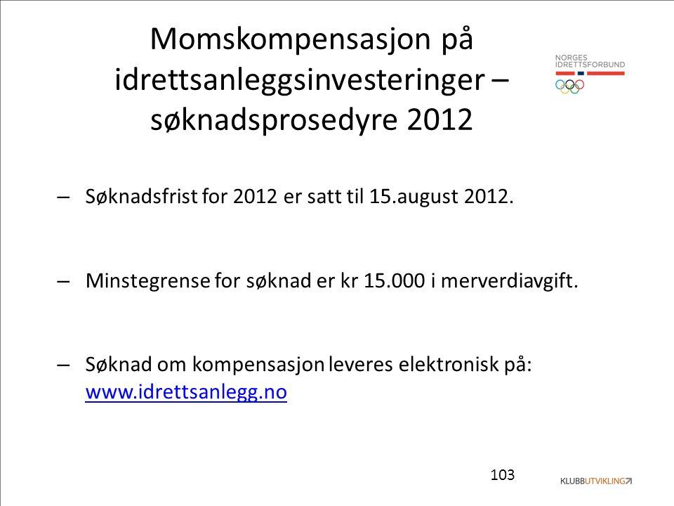 103 Momskompensasjon på idrettsanleggsinvesteringer – søknadsprosedyre 2012 – Søknadsfrist for 2012 er satt til 15.august 2012. – Minstegrense for søk