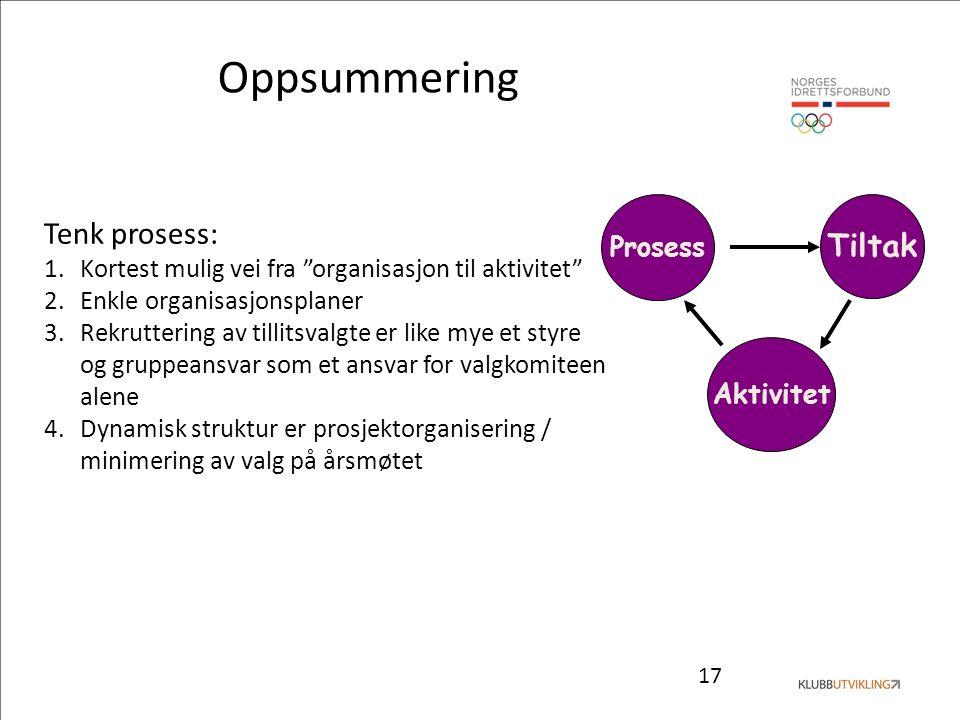 """17 Prosess Tiltak Aktivitet Tenk prosess: 1.Kortest mulig vei fra """"organisasjon til aktivitet"""" 2.Enkle organisasjonsplaner 3.Rekruttering av tillitsva"""