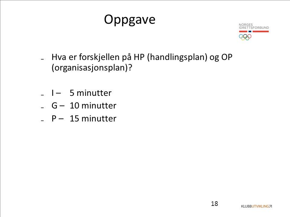 18 Oppgave ₋Hva er forskjellen på HP (handlingsplan) og OP (organisasjonsplan)? ₋I – 5 minutter ₋G – 10 minutter ₋P – 15 minutter