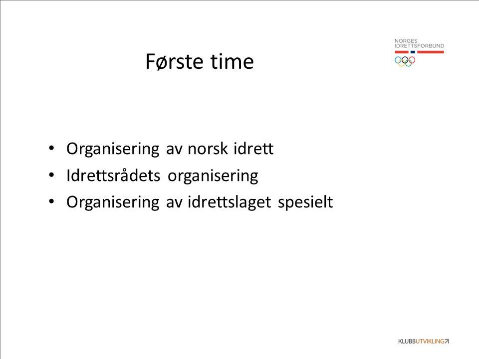 Første time Organisering av norsk idrett Idrettsrådets organisering Organisering av idrettslaget spesielt