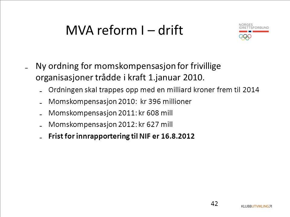 42 MVA reform I – drift ₋Ny ordning for momskompensasjon for frivillige organisasjoner trådde i kraft 1.januar 2010. ₋Ordningen skal trappes opp med e