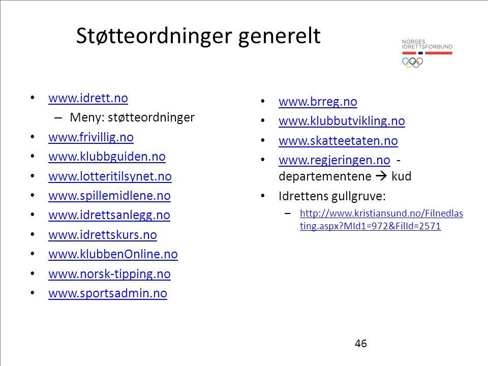 46 Støtteordninger generelt www.idrett.no – Meny: støtteordninger www.frivillig.no www.klubbguiden.no www.lotteritilsynet.no www.spillemidlene.no www.idrettsanlegg.no www.idrettskurs.no www.klubbenOnline.no www.norsk-tipping.no www.sportsadmin.no www.brreg.no www.klubbutvikling.no www.skatteetaten.no www.regjeringen.no - departementene  kud www.regjeringen.no Idrettens gullgruve: – http://www.kristiansund.no/Filnedlas ting.aspx MId1=972&FilId=2571 http://www.kristiansund.no/Filnedlas ting.aspx MId1=972&FilId=2571