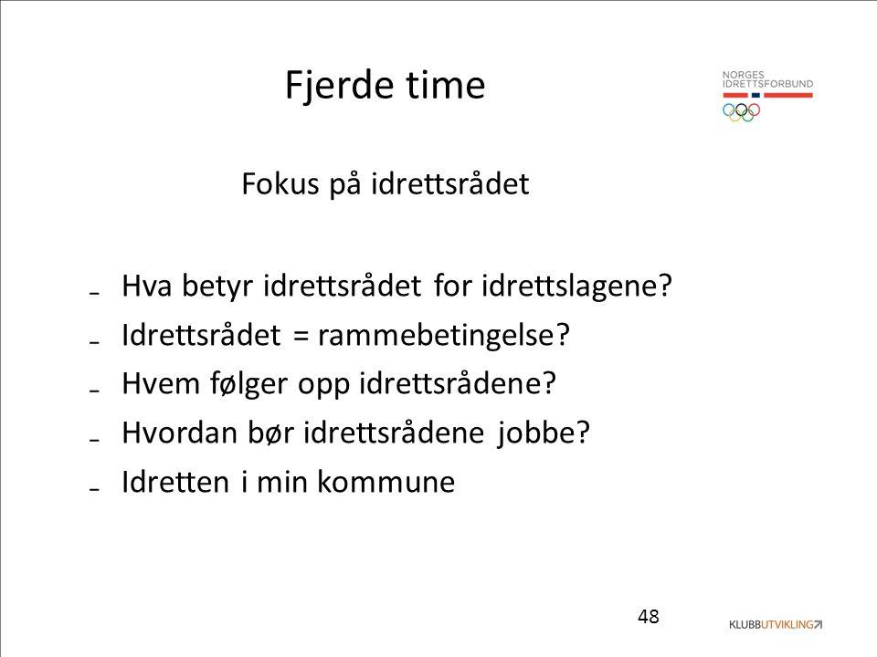 48 Fjerde time Fokus på idrettsrådet ₋Hva betyr idrettsrådet for idrettslagene.