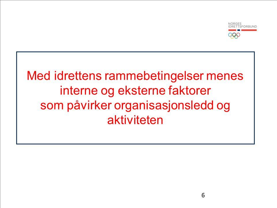 6 Med idrettens rammebetingelser menes interne og eksterne faktorer som påvirker organisasjonsledd og aktiviteten