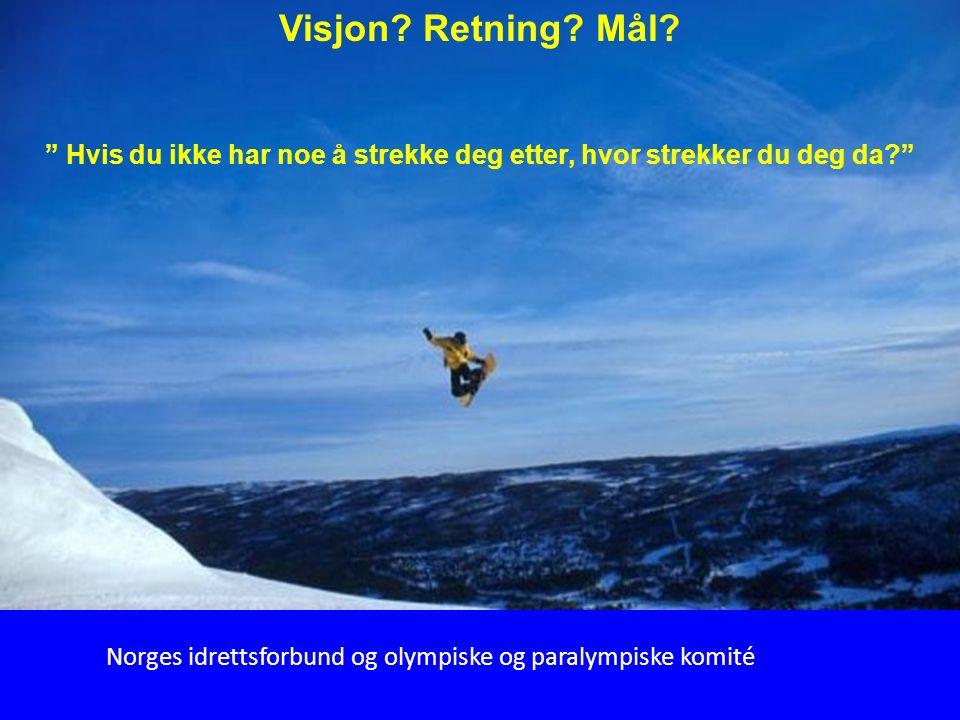 """67 """" Hvis du ikke har noe å strekke deg etter, hvor strekker du deg da?"""" Visjon? Retning? Mål? Norges idrettsforbund og olympiske og paralympiske komi"""