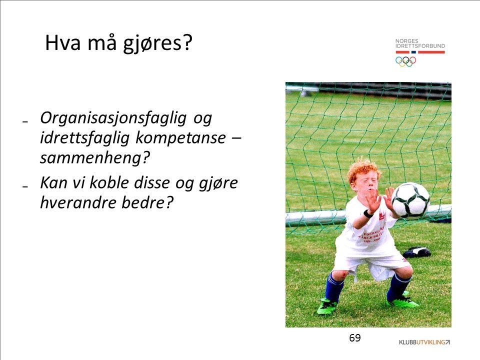69 Hva må gjøres. ₋Organisasjonsfaglig og idrettsfaglig kompetanse – sammenheng.