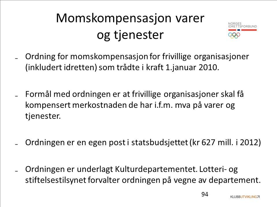 94 Momskompensasjon varer og tjenester ₋Ordning for momskompensasjon for frivillige organisasjoner (inkludert idretten) som trådte i kraft 1.januar 2010.
