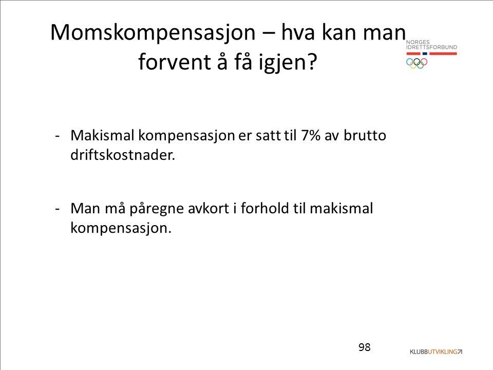 98 Momskompensasjon – hva kan man forvent å få igjen? -Makismal kompensasjon er satt til 7% av brutto driftskostnader. -Man må påregne avkort i forhol