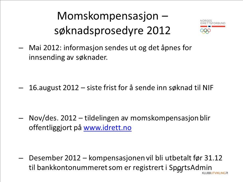 99 Momskompensasjon – søknadsprosedyre 2012 – Mai 2012: informasjon sendes ut og det åpnes for innsending av søknader. – 16.august 2012 – siste frist