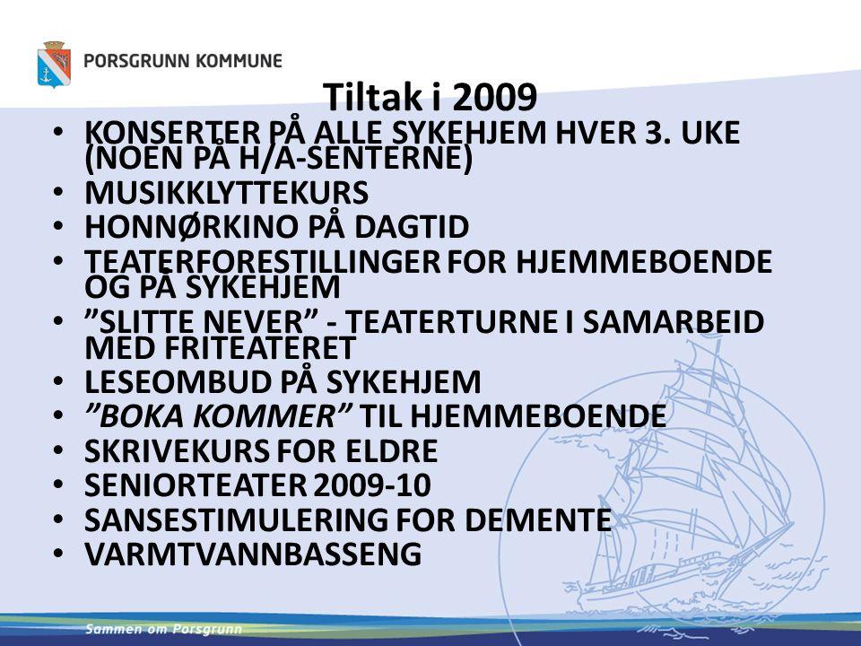Tiltak i 2009 KONSERTER PÅ ALLE SYKEHJEM HVER 3.