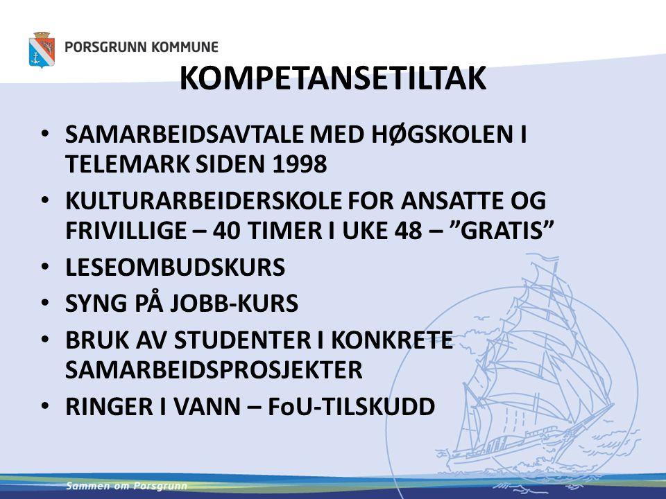 KOMPETANSETILTAK SAMARBEIDSAVTALE MED HØGSKOLEN I TELEMARK SIDEN 1998 KULTURARBEIDERSKOLE FOR ANSATTE OG FRIVILLIGE – 40 TIMER I UKE 48 – GRATIS LESEOMBUDSKURS SYNG PÅ JOBB-KURS BRUK AV STUDENTER I KONKRETE SAMARBEIDSPROSJEKTER RINGER I VANN – FoU-TILSKUDD