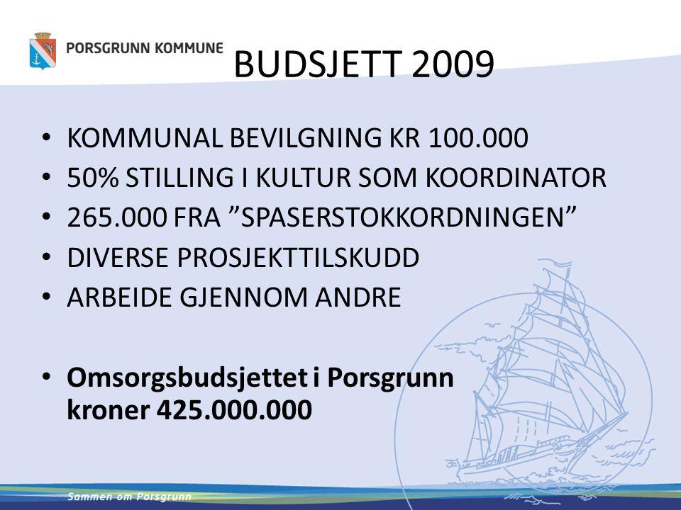 BUDSJETT 2009 KOMMUNAL BEVILGNING KR 100.000 50% STILLING I KULTUR SOM KOORDINATOR 265.000 FRA SPASERSTOKKORDNINGEN DIVERSE PROSJEKTTILSKUDD ARBEIDE GJENNOM ANDRE Omsorgsbudsjettet i Porsgrunn kroner 425.000.000