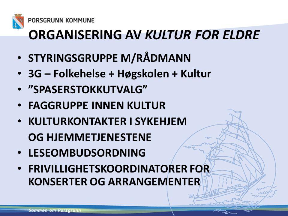 ORGANISERING AV KULTUR FOR ELDRE STYRINGSGRUPPE M/RÅDMANN 3G – Folkehelse + Høgskolen + Kultur SPASERSTOKKUTVALG FAGGRUPPE INNEN KULTUR KULTURKONTAKTER I SYKEHJEM OG HJEMMETJENESTENE LESEOMBUDSORDNING FRIVILLIGHETSKOORDINATORER FOR KONSERTER OG ARRANGEMENTER