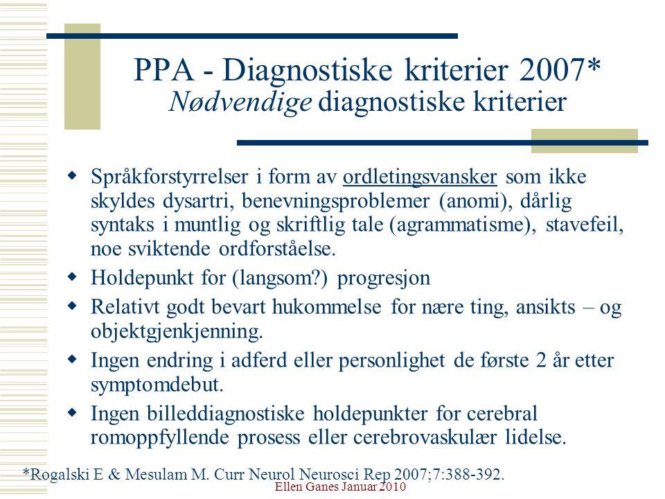Ellen Ganes Januar 2010 PPA - Diagnostiske kriterier 2007* Nødvendige diagnostiske kriterier  Språkforstyrrelser i form av ordletingsvansker som ikke