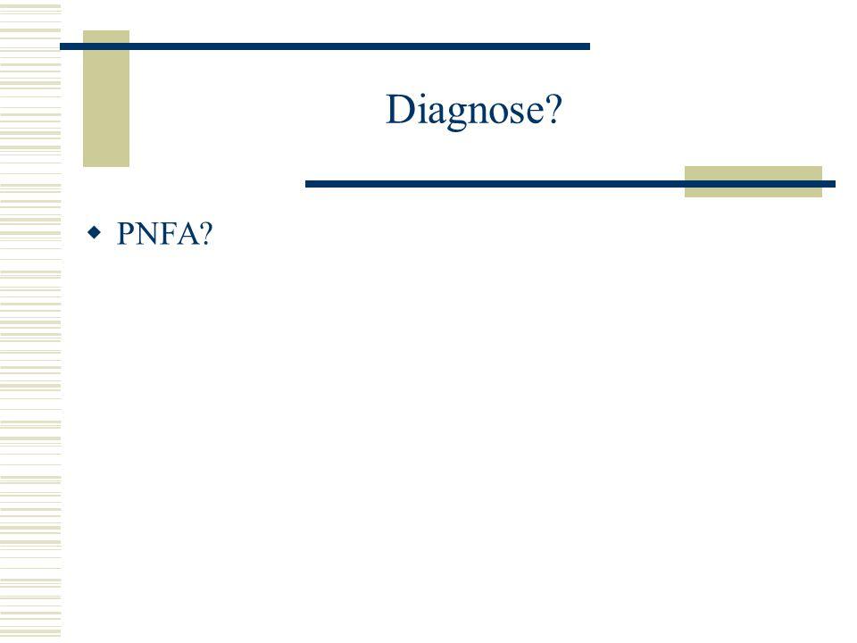 Diagnose?  PNFA?