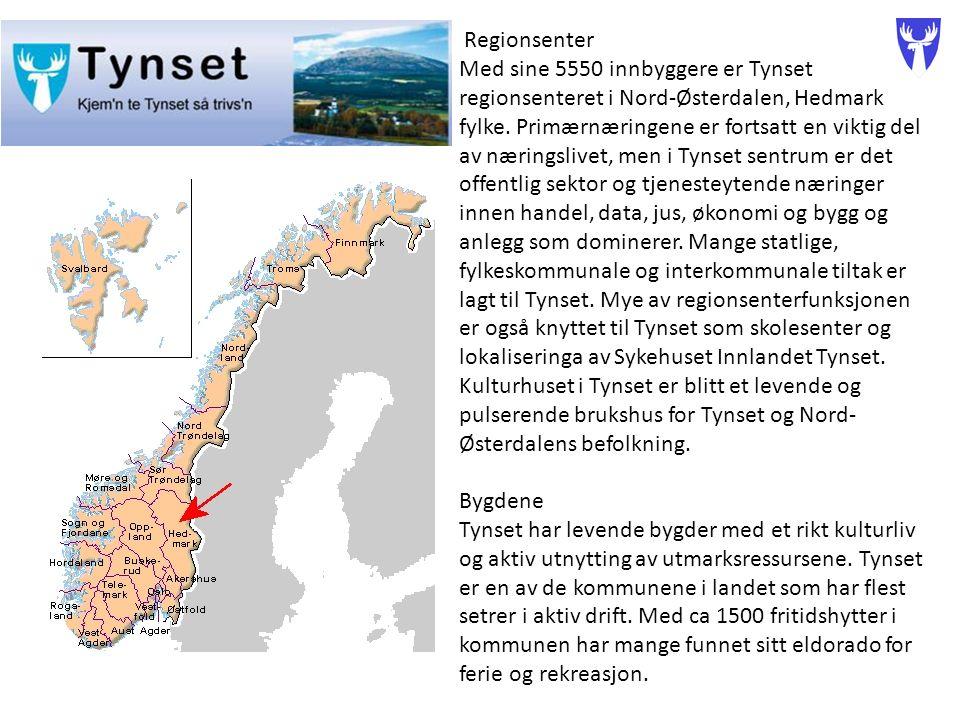 Regionsenter Med sine 5550 innbyggere er Tynset regionsenteret i Nord-Østerdalen, Hedmark fylke.