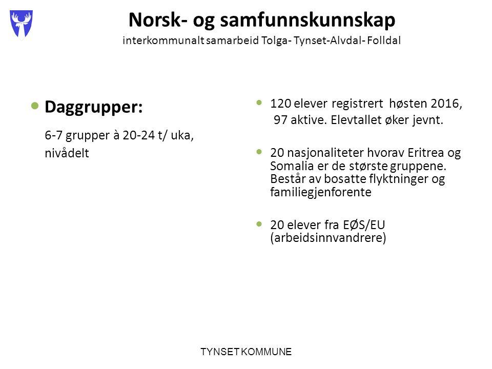 Norsk- og samfunnskunnskap interkommunalt samarbeid Tolga- Tynset-Alvdal- Folldal Daggrupper: 6-7 grupper à 20-24 t/ uka, nivådelt 120 elever registrert høsten 2016, 97 aktive.