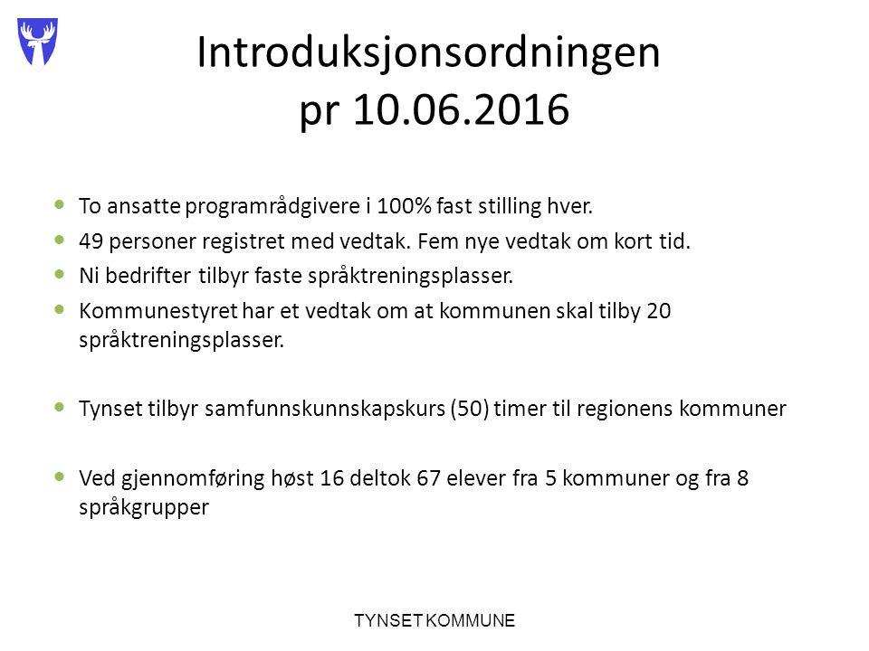 Introduksjonsordningen pr 10.06.2016 To ansatte programrådgivere i 100% fast stilling hver.