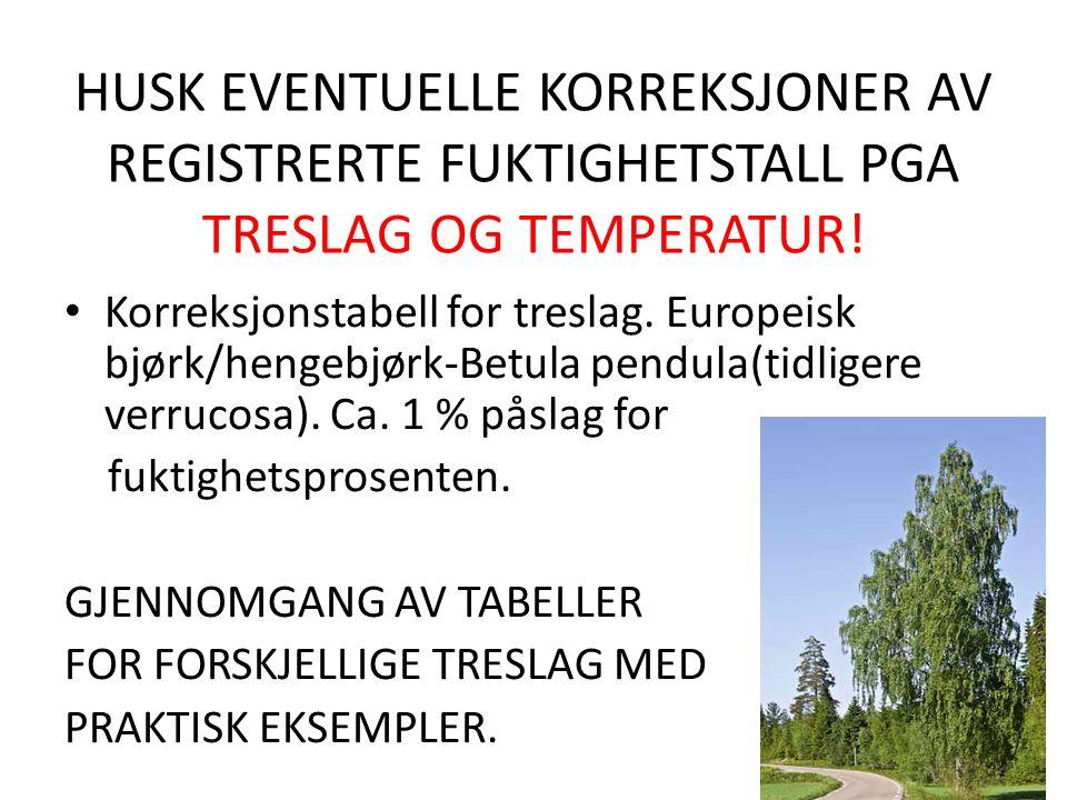 HUSK EVENTUELLE KORREKSJONER AV REGISTRERTE FUKTIGHETSTALL PGA TRESLAG OG TEMPERATUR.
