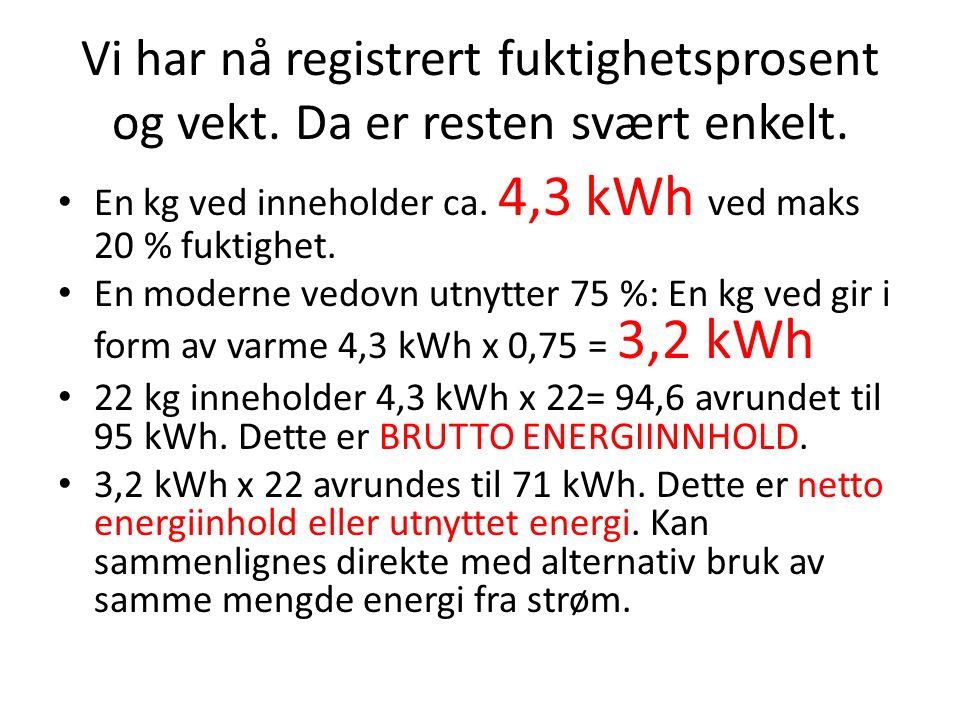 Vi har nå registrert fuktighetsprosent og vekt. Da er resten svært enkelt.