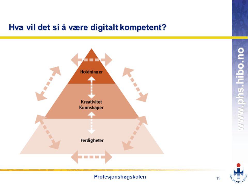 OMJ-98 www.phs.hibo.no 11 Profesjonshøgskolen Hva vil det si å være digitalt kompetent