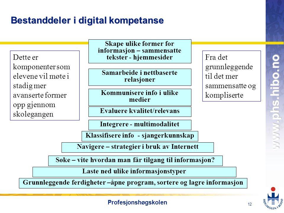 OMJ-98 www.phs.hibo.no 12 Profesjonshøgskolen Bestanddeler i digital kompetanse Grunnleggende ferdigheter –åpne program, sortere og lagre informasjon