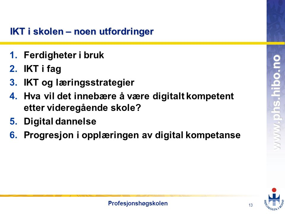 OMJ-98 www.phs.hibo.no 13 Profesjonshøgskolen IKT i skolen – noen utfordringer 1.Ferdigheter i bruk 2.IKT i fag 3.IKT og læringsstrategier 4.Hva vil d