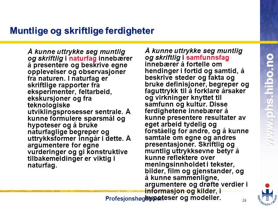 OMJ-98 www.phs.hibo.no 24 Profesjonshøgskolen Muntlige og skriftlige ferdigheter Å kunne uttrykke seg muntlig og skriftlig i naturfag innebærer å pres