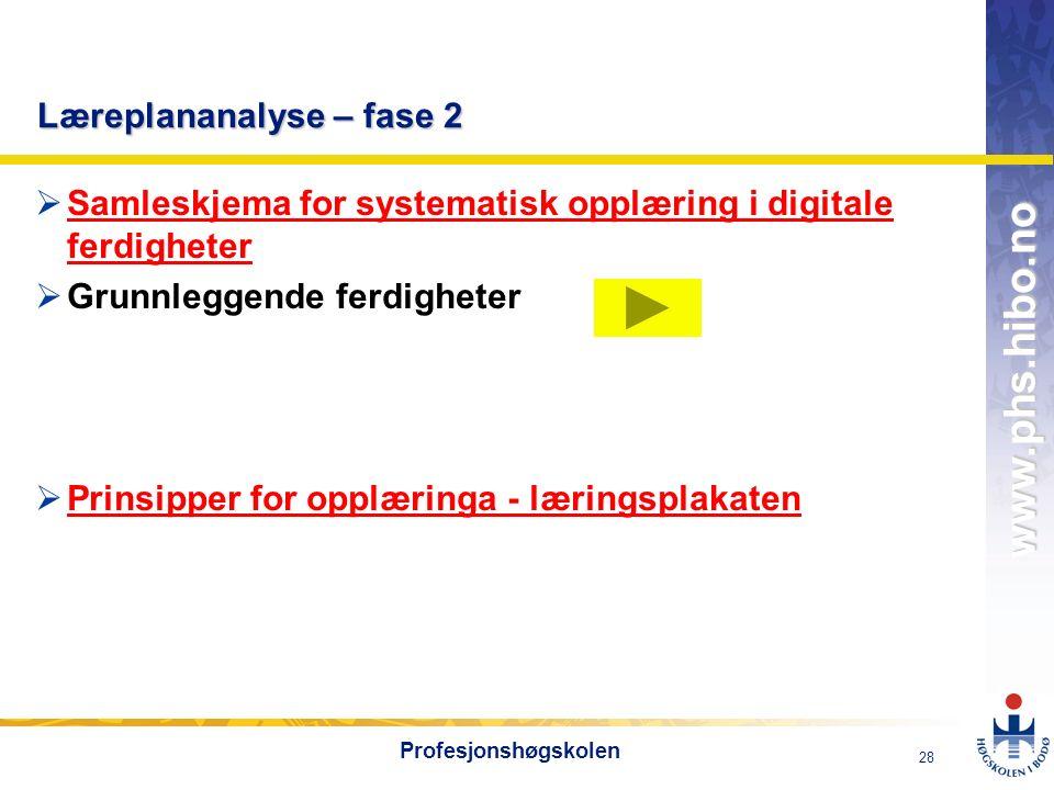 OMJ-98 www.phs.hibo.no 28 Profesjonshøgskolen Læreplananalyse – fase 2  Samleskjema for systematisk opplæring i digitale ferdigheter Samleskjema for