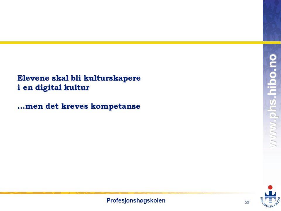OMJ-98 www.phs.hibo.no 59 Profesjonshøgskolen Elevene skal bli kulturskapere i en digital kultur …men det kreves kompetanse