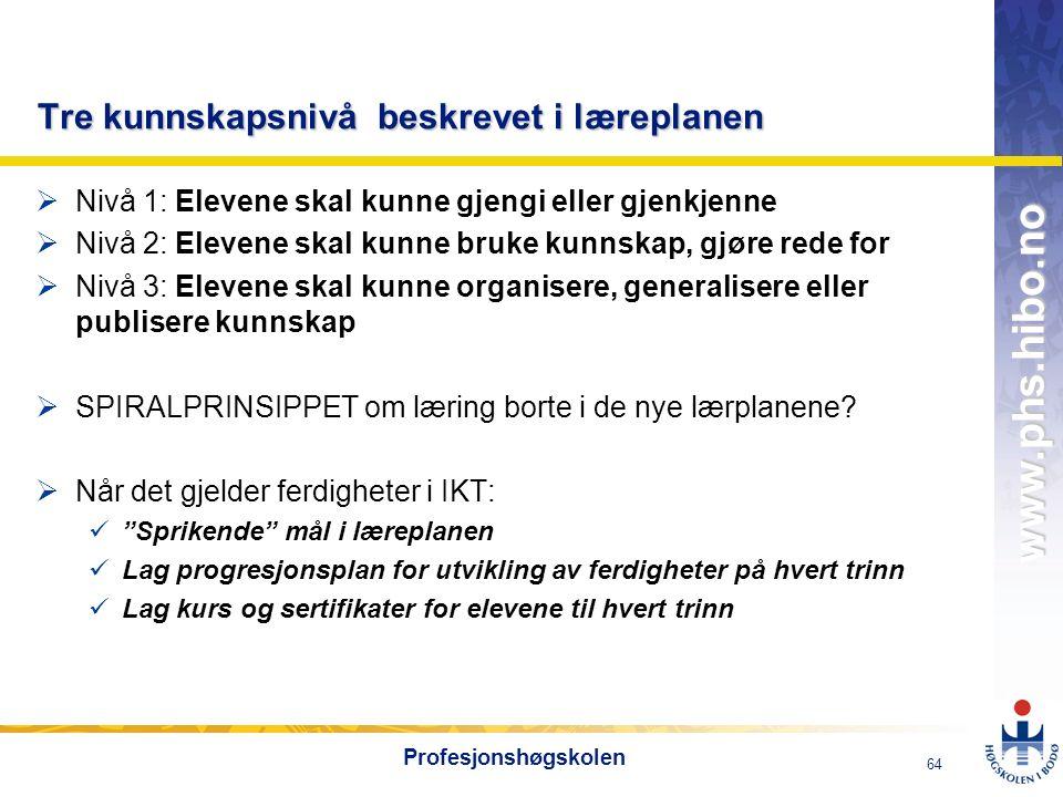 OMJ-98 www.phs.hibo.no 64 Profesjonshøgskolen Tre kunnskapsnivå beskrevet i læreplanen  Nivå 1: Elevene skal kunne gjengi eller gjenkjenne  Nivå 2: