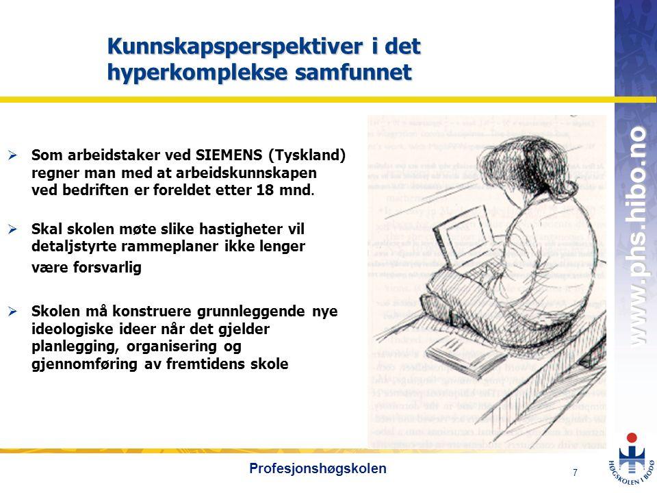 OMJ-98 www.phs.hibo.no 7 Profesjonshøgskolen Kunnskapsperspektiver i det hyperkomplekse samfunnet  Som arbeidstaker ved SIEMENS (Tyskland) regner man