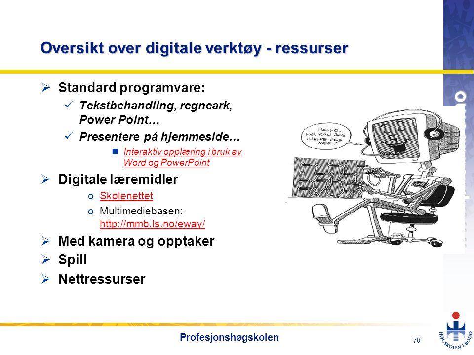 OMJ-98 www.phs.hibo.no 70 Profesjonshøgskolen Oversikt over digitale verktøy - ressurser  Standard programvare: Tekstbehandling, regneark, Power Poin