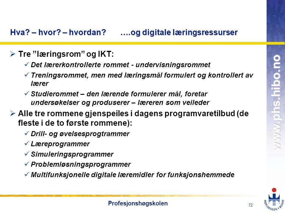 """OMJ-98 www.phs.hibo.no 72 Profesjonshøgskolen Hva? – hvor? – hvordan? ….og digitale læringsressurser  Tre """"læringsrom"""" og IKT: Det lærerkontrollerte"""